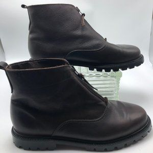 Eddie Bauer Women's Brown Leather Ankle Boots - 10